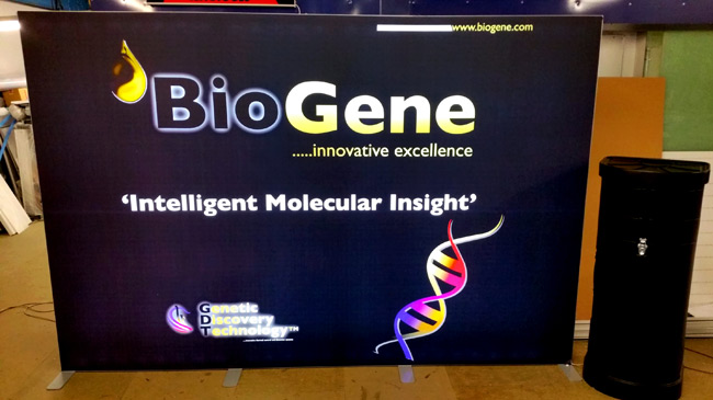 Biogene ESHG European Human Genetics Conference exhibition backdrop - black, backlit