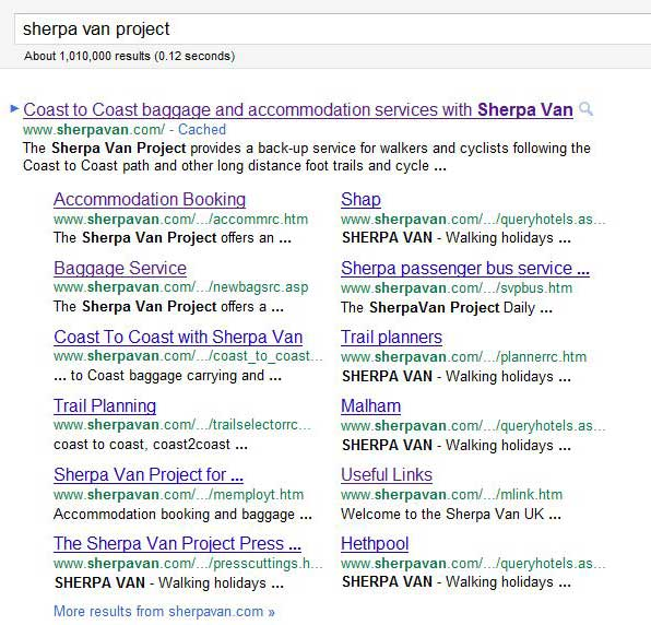 New-look Google Sitelinks: example SherpaVan.com