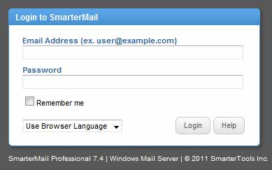 SmarterMail login screen