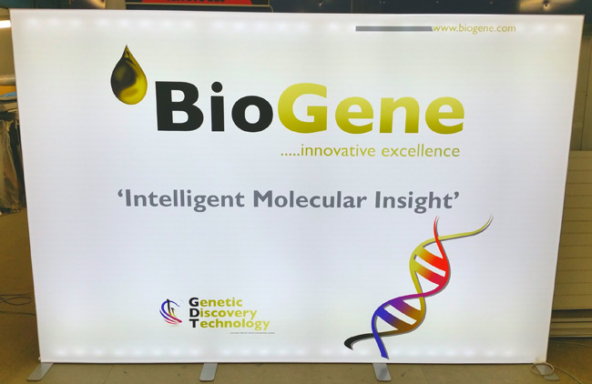 Biogene ESHG European Human Genetics Conference exhibition backdrop - white
